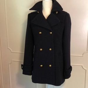 Banana Republic navy wool pea coat NEW